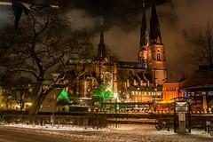 Night Pride (amimol) Tags: lighting trees winter snow night clouds evening vinter cathedral uppsala sn domkyrkan