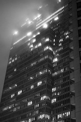 5 a.m. fog (koalie) Tags: sanfrancisco california travel bw usa fog skyscraper nightshot unitedstates nb financialdistrict 2014030406california