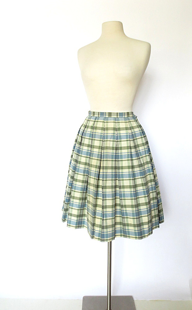 9fc4054bd2 1960s blue and green plaid pleated full skirt (Small Earth Vintage) Tags:  blue