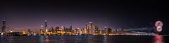 Navy Pier Fourth of July Fireworks + Chicago Harbor (Tony Webster) Tags: longexposure panorama chicago skyline illinois fireworks panoramic fourthofjuly navypier independenceday monroeharbor adlerplanetarium chicagoharbor