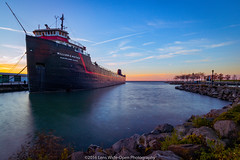 The Steamship William G. Mather (jomak14) Tags: canoneos1ds cleveland daytimelongexposure fullframe kenkond8filter lakeerie lakefront ohio tokinaaf1935mmf3545 ship marina condensationtrails contrails