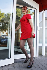 Lara 01 (The Booted Cat) Tags: sexy cute girl model red hair dress minidress nylon pantyhose heels highheels legs