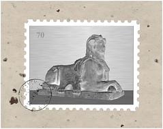 [Rntgen-Sphinx als Briefmarke (2)] (menzelhd) Tags: rntgen sphinx briefmarke digiart invers negativ figur skulptur plastik komposition