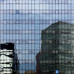 reflections (morbs06) Tags: barcelona catalunya abstract architecture building city cladding curtainwall curves facade light lines office pattern reflections square stripes urban windows