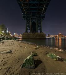 Manhattan Bridge (DSC02354) (Michael.Lee.Pics.NYC) Tags: newyork manhattanbridge eastriver dumbo lowtide night longexposure fisheye manhattan brooklynbridgepark symmetry sony a7rm2 rokinon12mmf28