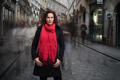 silent times (CHCaptures) Tags: woman street longexposure sony ilce7m2 sel55f18z flash red scarf graz sporgasse birdiesworld chcaptures beauty