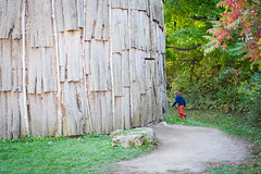 Longhousea at Iroquoian Village, Crawford Lake Conservation Area, Ontario (teachandlearn) Tags: indoor architecture longhouse canada iroquois village ontario wood running firstnations