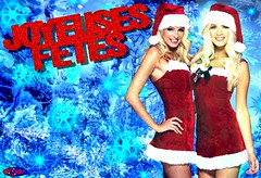 JOYEUSES FETES (EDIMIX 2) Tags: sexy mini jupe noel fetes joyeuses blonde asian peluche edimix ecran fond wallpaper woman hot hum sapin neige brunette