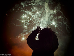 getting the picture.... (Artbywigs) Tags: fireworks black lights night wigs artbywigs child silhouette white smoke shoreham