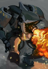 Mecha Flamethrower Shark (justin pyne) Tags: justin pyne mecha flamethrower shark hotwheels sharkruiser painting illustration photoshop dust war post apoc sci fi science fiction fireball