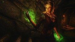 TESV - Green eyes, green glow (tend2it) Tags: kenb elder scrolls skyrim v rpg game pc ps3 xbox screenshot sweetfx enb krista demonica race sg lilith 161 felicia arcane mage magic magik cast caster spell green eyes blond hair mods mass paralysis glow energy