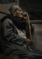 Old man on the subway (OlaEricson) Tags: ola ericson street stockholm sweden streetphoto streetphotography gatufoto gatufotografi people portrait streetportrait portrtt mnniska mnniskor man subway train stick kpp metro