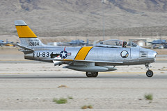NX186AM (Rich Snyder--Jetarazzi Photography) Tags: planesoffamemuseum northamericanaviation naa f86 f86f sabre sabrejet nx186am landing arriving arrival rollout aviationnation nellisafb lsv klsv lasvegas nevada nv airplane aircraft jet plane fighter warbird classic restored