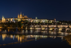 panorama evening Charles Bridge in Prague (Stanislav Zakurdaev) Tags: charlesbridge czechrepublic europe prague praguecastle stanislavzakurdaev vltava autumn beautifulview bluelandscapesky historical holiday landscape oldtown panorama river tonight travel trip photostascom