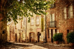 French Village Street (BOCP) Tags: street village tree rustic traditional stone buildings boulangerie meyssac correze limousin southwest france perigord sudouest streetscape texture textured overlay painterly