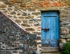 Blue Door (Erik Pronske) Tags: blue tuscany railing volpaia latch rosemary staircase italy historic architecture toscana it