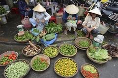 . (robbie.......) Tags: street hat fruit digital photography nikon asia market hats an bamboo vietnam hoian viet vegtables seller nam hoi trays conical sieve