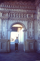 Me @ San Javier Arch (JF Sebastian) Tags: portrait church wall architecture arch painted bolivia thatsme scannedslide takenby sanjavier rutaquetzal digitalized jesuitreductions morethan100visits rutaquetzal1996 oldfilmautomaticcamera