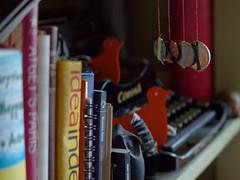 Rat Race (Jed Sullivan) Tags: money birds typewriter humor books bookshelf capitalism