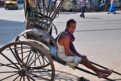 India - West Bengal - Kolkata - Street Life - Pulled Rickshaw Driver Waiting For Customer - 36 (asienman) Tags: india kolkata calcutta westbengal asienmanphotography