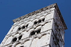 IMG_2770.jpg (She Curmudgeon) Tags: italy tower window angel facade lucca column marble romanesque florence2013 pisanmarble
