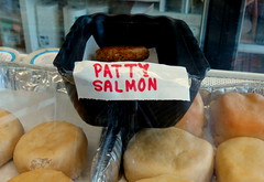 Or, Salmon Patty (Renee Rendler-Kaplan) Tags: food canon october gbrearview counter display sunday container eat enjoy nosh trays gapersblock wbez chicagoist caughtmyeye knishes 2013 lincolnwoodillinois salmonpatty reneerendlerkaplan canonpowershotsx40hs pattysalmon newyorkbagelbialycorp misspattysalmon maybeitsforher