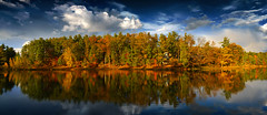 Arbutus Lake (onemorelens.com) Tags: autumn sky lake reflection fall leaves clouds sony rx1