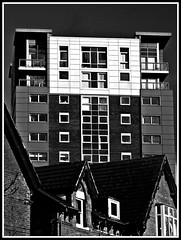 Croxteth Road, Liverpool - Architectural Contrasts (ronramstew) Tags: uk england bw architecture contrast liverpool merseyside croxtethroad