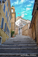 (world's views) Tags: travel italy rome yellow stairs flags lookingup 2009