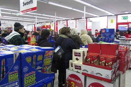Bargain Buys opening day, Ashton-under-Lyne: checkout queues