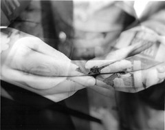 chips and rolling (martha-jane) Tags: boy blackandwhite white black darkroom doubleexposure smoke chips mcdonalds smoking multipleexposure fries printing prints cigarettes rolling