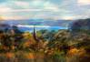 Along the Hudson (Terry Pellmar) Tags: autumn trees texture digitalart steeple poughkeepsie digitalpainting hudsonriver newyorkstate mygearandme mygearandmepremium