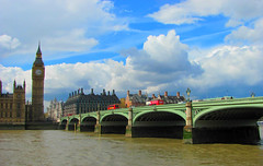 London's Westminster bridge (Reece999) Tags: road camera old city uk bridge blue windows red summer chimney england sky people brown white house colour building bus london tower clock water westminster car thames clouds canon river moving image britain capital transport sunny parliament bigben powershot busy lorry van coloured compact sx110