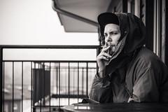 Razz (xibalbax) Tags: portrait people bw man canon beard 50mm cigarette smoking 7d canonef50mmf18ii canoneos7d