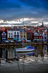 Getting dark in Whitby - North Yorkshire. Tonemapped.