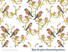 Pattern Design by Naomi C Robinson (Hi Ni) Tags: winter wedding bird art love home birds illustration watercolor painting print happy golden scotland artwork couple pattern friendship quote anniversary mixedmedia thistle joy marriage happiness birdsong sketchbook watercolour valentines etsy gratitude weddinggift homesweethome patience partners illustrate europeangoldfinch patterndesign repeatedpattern birdart beautifulbirds indieseller teastainedpaper etsyart etsyuk patternandprint