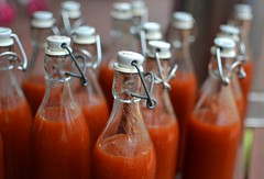 sauce day (Ock Du Spock) Tags: tomato ketchup bottles sauce tomatoes pasta jars preserves canning fowlers preserving vacola