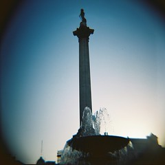 Nelson's column, Trafalgar Square, London (nick richards art) Tags: london 120 film fountain square photography lomo trafalgar nelson landmark 120film diana column analogue