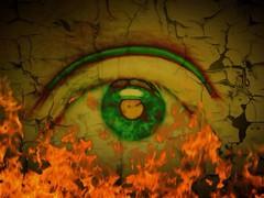 My Eye... (davidschultz1) Tags: green fire burn eyeball cracks uploaded:by=flickrmobile flickriosapp:filter=nofilter
