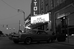 Into The Wild (Flint Foto Factory) Tags: auto show street city summer urban bw white black reflection classic hardtop home car sign st festival bulb vintage marquee evening town buick automobile gm shiny theater downtown neon theatre dusk michigan entrance august fair 2nd capitol chrome american agency signage second birthplace annual spencer wildcat flint luxury coupe 1965 140 generalmotors 2door nighfall 2013 worldcars backtothebricks esecondst