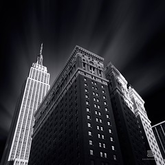 Tower of Power (S.D.G Photographie) Tags: city nyc newyorkcity light sky urban bw cloud ny newyork france building art architecture brooklyn contrast dark emblem french blackwhite artist cityscape cloudy manhattan fineart fine perspective architectural ciel lee esb empire empirestatebuilding français bwphotography fineartphotography urbain sdg emblème leefilter leefilters sebastiendelgrosso