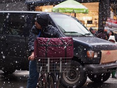 Remember to Tip Generously (beanhead4529) Tags: nyc newyorkcity winter snow bokeh manhattan streetphotography delivery gothamist curbed m43 microfourthirds olympus45mm olympusem5