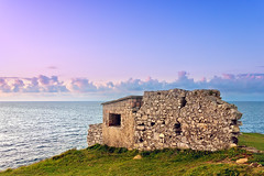 ruins of bunker near sea (Mimadeo) Tags: ocean old sunset sea sky cloud sunlight color abandoned nature grass architecture sunrise landscape coast fort dusk ruin rocky bunker strong fortification fortress vizcaya basquecountry muskiz