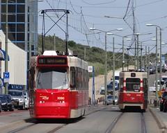 HTM Two tramsets of class 3000. (Franky De Witte - Ferroequinologist) Tags: de eisenbahn railway estrada streetcar tramway chemin fer strassenbahn spoorwegen ferrocarril ferro ferrovia     tramlijn