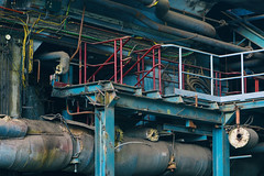 Electricity central (TouTouke - Nightfox) Tags: blue plant industry water metal big energy iron industrial factory technology power belgium background steel tube pipe insulation rusty engineering demolition line gas pump equipment valve transportation heat oil electricity pairs gasoline facility heavy piping pipeline fuel stainless chemical resources manufacturing kluisbergen ruien