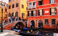 Gondoliers, Bridges, Tourists...it's got to be Venice. (MickyFlick) Tags: sestieresanmarco venice italy europe gondola gondolier gondolieri tourists touristdestination venezia italia dreamcity mickyflick guysinblueandwhitestripedshirts bridge canal colourful colorful fortunymuseum museefortuny