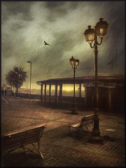 Cafe on the seafront in Civitavecchia. (odinvadim) Tags: landscape iphoneonly evening clouds iphoneart iphoneography autumn mytravelgram painterlymobileart sunset italy iphone enteredinsyb house snapseed old instapickskyart travel textured textures painterly