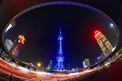 Shanghai - The Circle (cnmark) Tags: china shanghai pearl orient pearloftheorient tv tower building night bright colored coloured light nacht nachtaufnahme noche nuit notte noite roundabout circle   allrightsreserved traffic trails busy