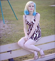 Athena - Park (rbatina) Tags: rubbertoe amateur model modeling pose posing pretty young woman cute pale teen white girl beautiful bare skin teenage blond blonde hair blue highlights thin little petite dress skirt mini miniskirt outside outdoors park eyes nose mouth lips face arms shoulders legs cleavage zebra striped revealing outfit print hot feet chest necklace jewelry makeup hips waist october 16 16th 2016 playground curvy tight clothes bench