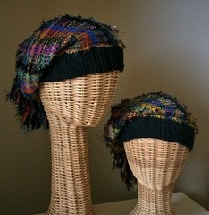 Handwoven hats with knitted bands (wovenflame) Tags: saori handwoven knitting weaving